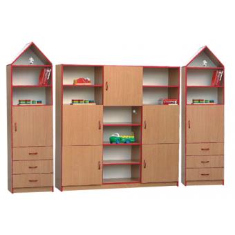 Daniel (XL) - zestaw regałów z półkami i dwoma kominkami