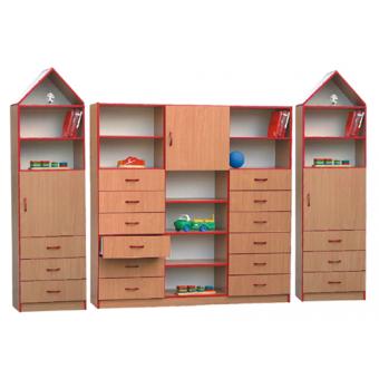 Daniel (XXL) - zestaw regałów z szufladami i dwoma kominkami