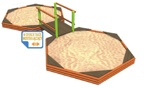 Sześciokątna piaskownica z drewna - drewniane piaskownice Piansport.