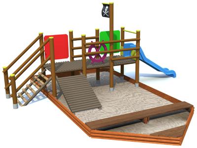 Okręt ze zjeżdżalnią - zestaw zabawowy z piaskownicą